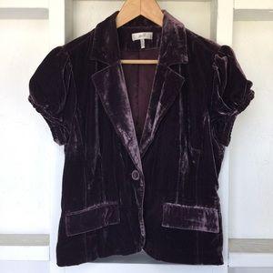 Plum Purple Velvet Blazer with Embroidery Metro 7
